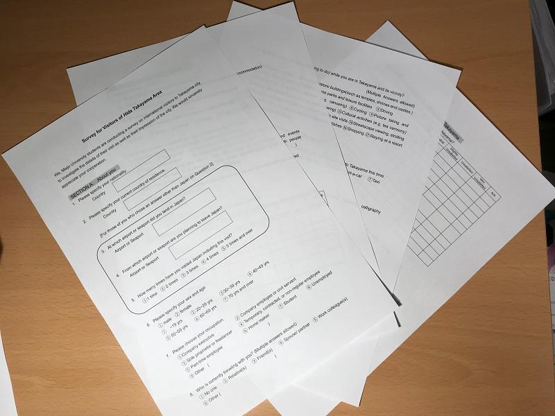 作成した英語版アンケート調査票