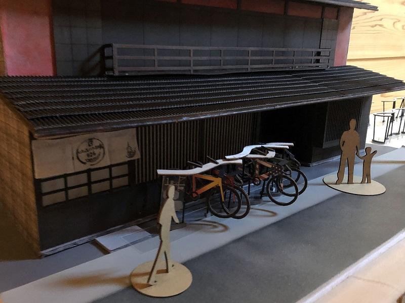 古民家カフェの前のロードバイクスタンドの計画案