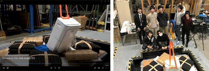 写真-1 予備実験の様子と学生メンバー(2020年4月)