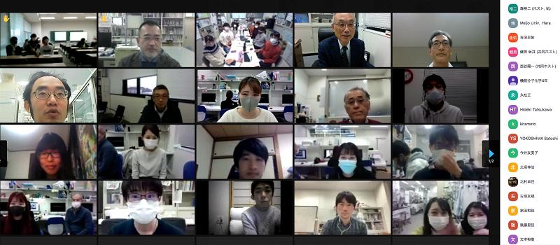 西谷陽一先生(右上)とZoom講演会に参加した教員と学生(一部)