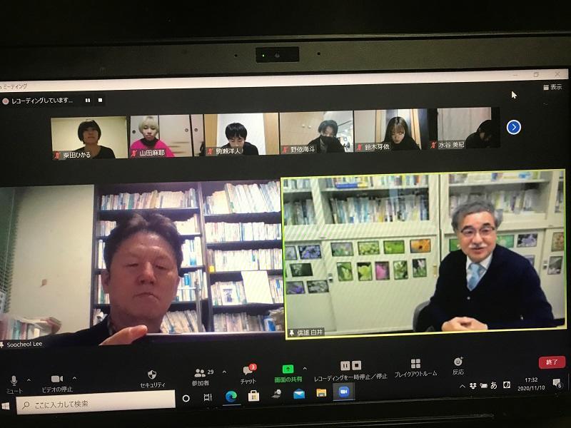 山陽学園大学地域マネジメント学部白井信雄教授と経済学部生とのズームを活用したオンラインセミナー様子①