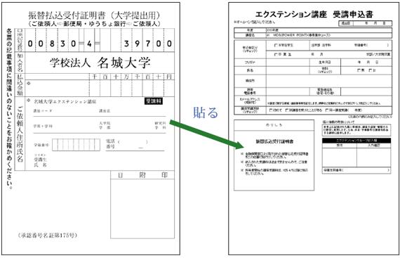 受講申込書に張り付ける払込用紙