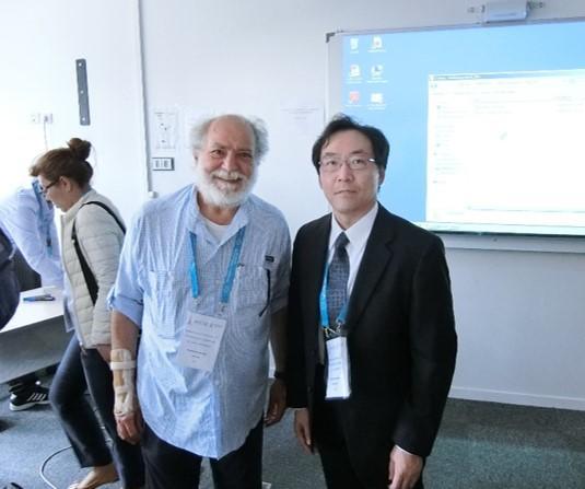 共同座長の Antonio Morone 教授(イタリア、CNR-ISM)と。