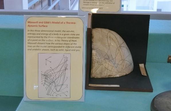 キャベンディッシュ研究所の展示。マックスウェルとギブズの thermodynamic surface の模型。