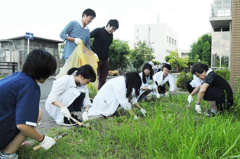研究実験棟Ⅰ前の草を刈る教員と学生