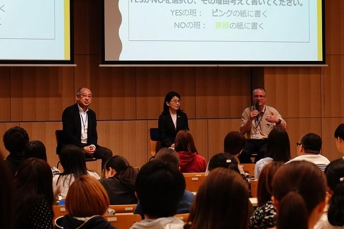 共通テーマに関連する講義をする(左から)加茂省三教授、一ノ谷清美教授、ジョン・カール・ウエストビィ准教授