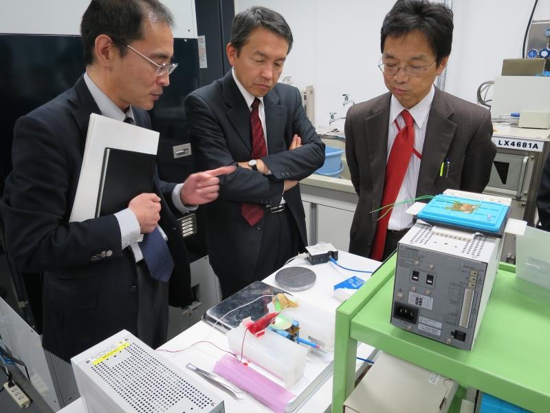 上山教授(左)の説明を聞く波多野局長(中)と山田課長=科学技術創生館で