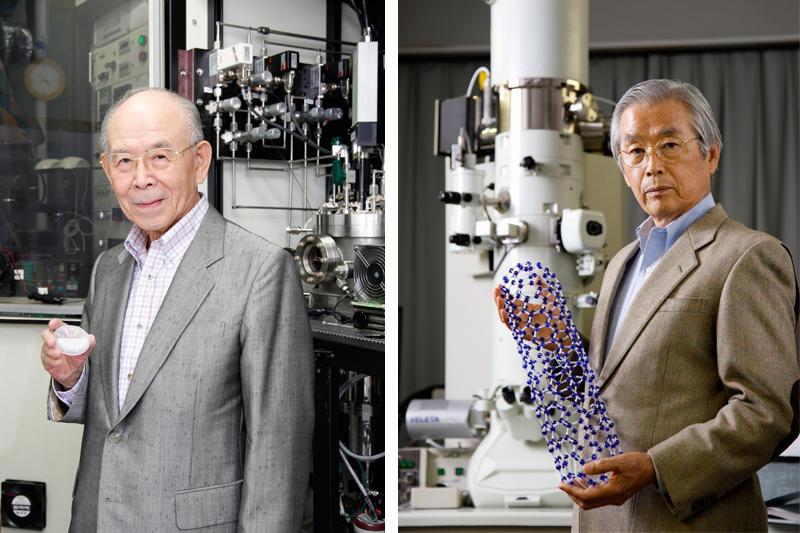 日本物理学会名誉会員の称号を授与された赤﨑教授(左)と飯島教授(右)