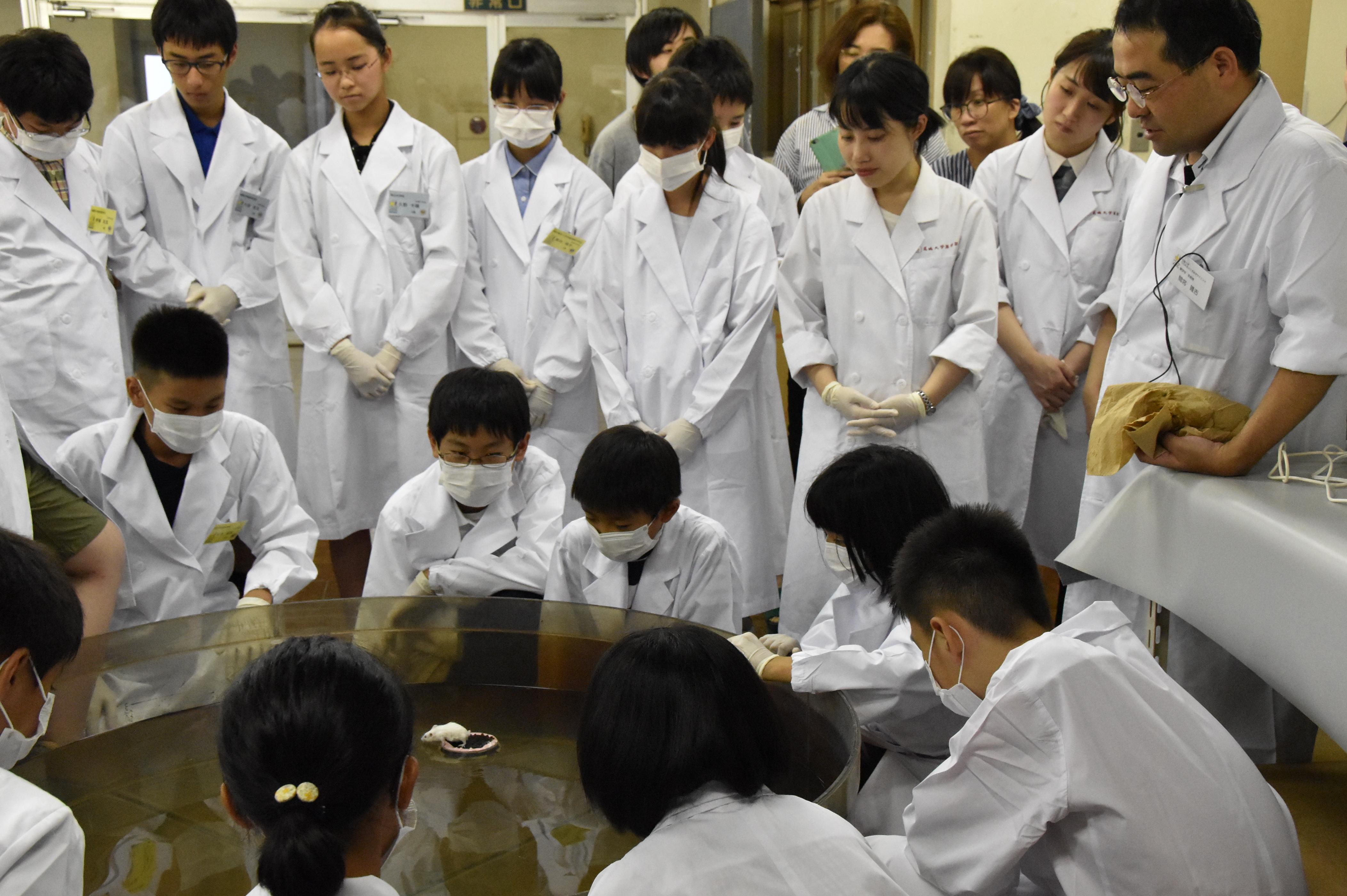 実験について説明する間宮准教授(写真右)