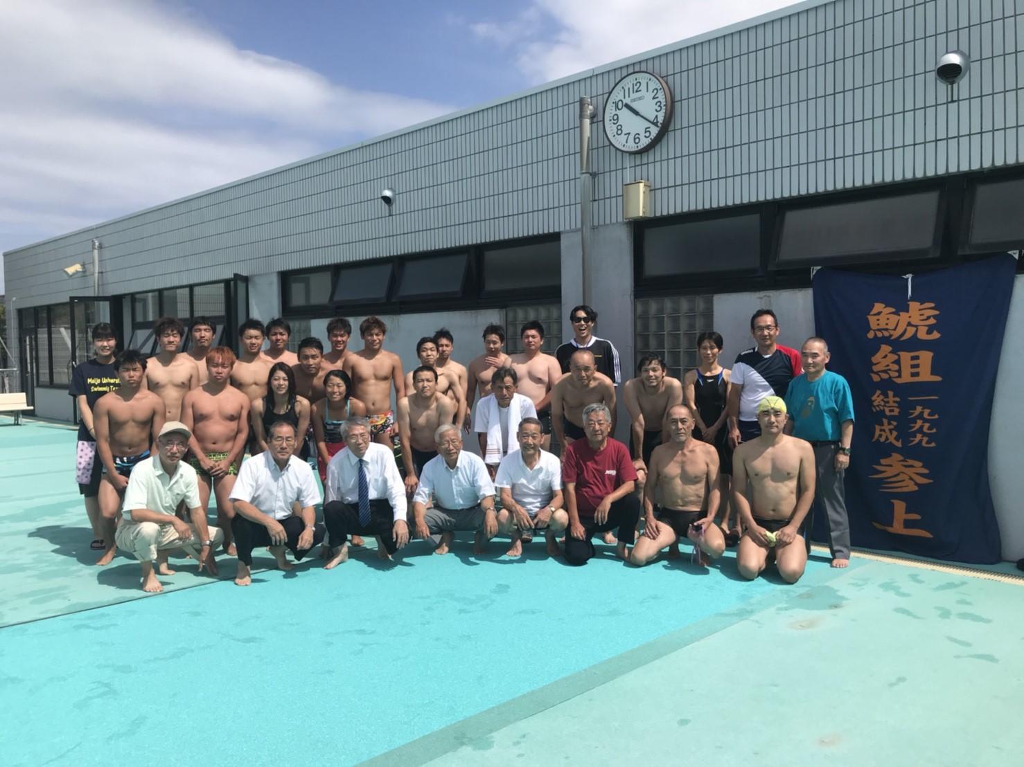 石川県小松市の末広屋外水泳プールで合宿中の水上競技部