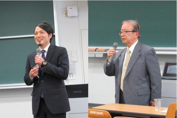 東京農工大学の吉田教授(左)とジェイファーマ株式会社の遠藤代表取締役