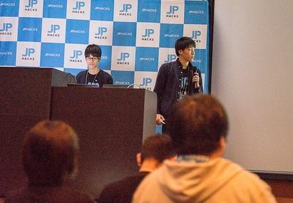 東京大学でプレゼンテーションをする池田武史さん(右)と木村信裕さん