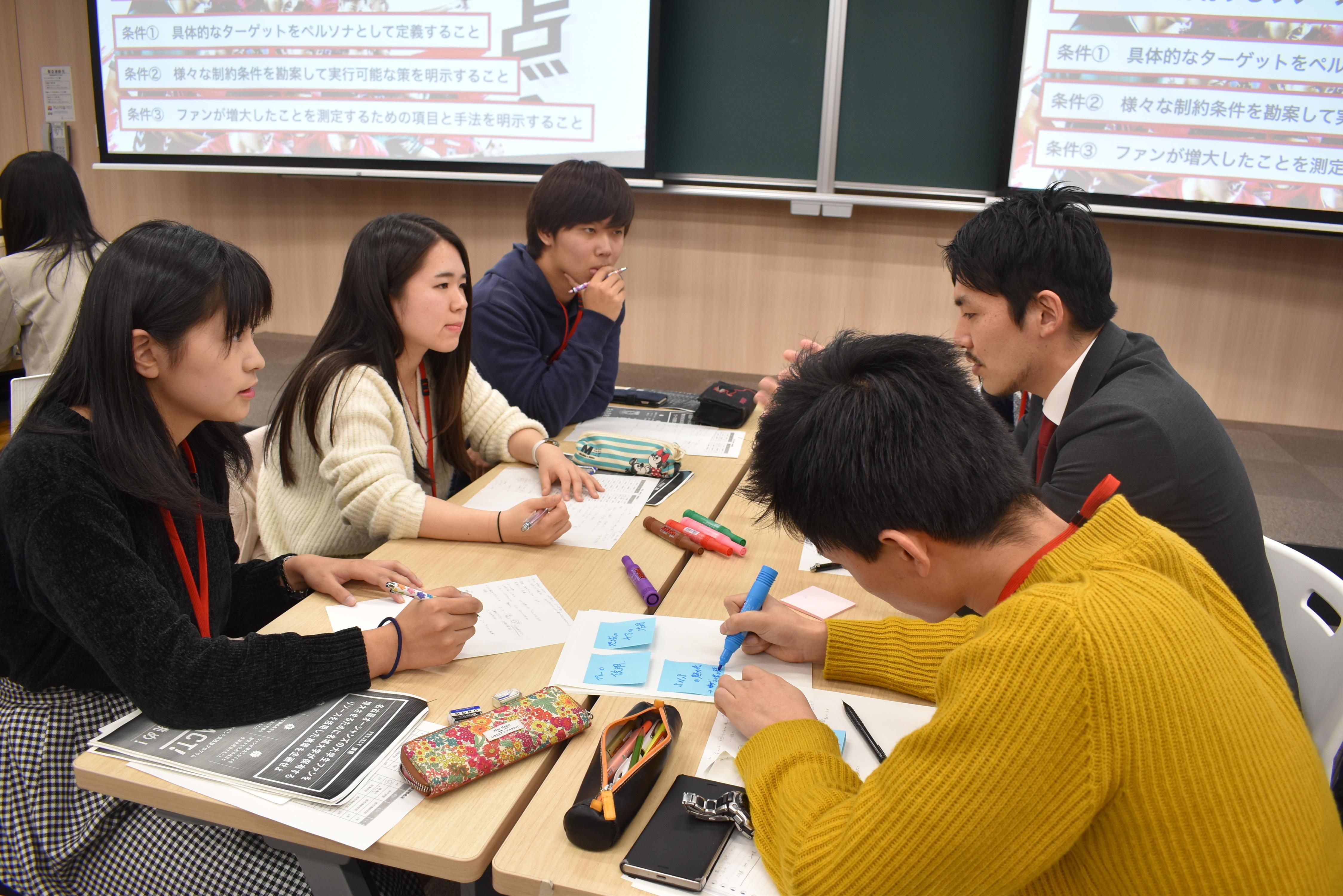 アイデアを提案し合う学生ら