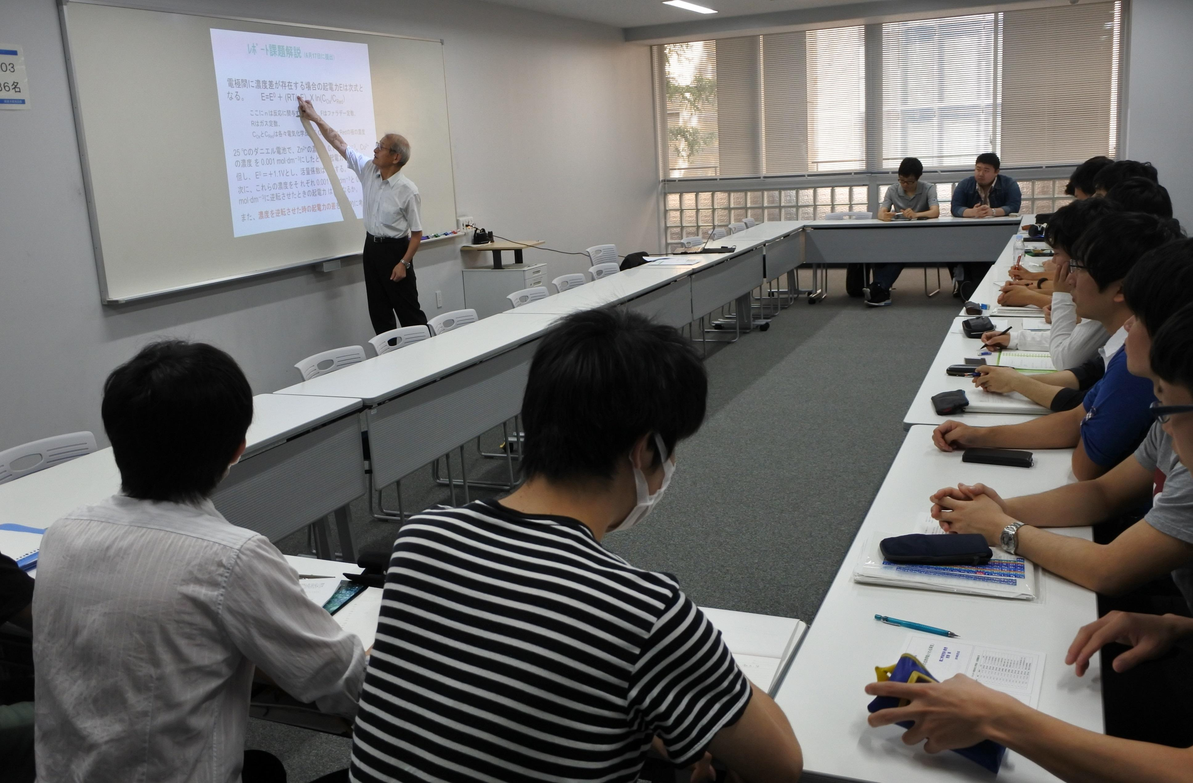本学大学院生に対して「エネルギー環境材料工学特論Ⅰ」を講じる吉野教授
