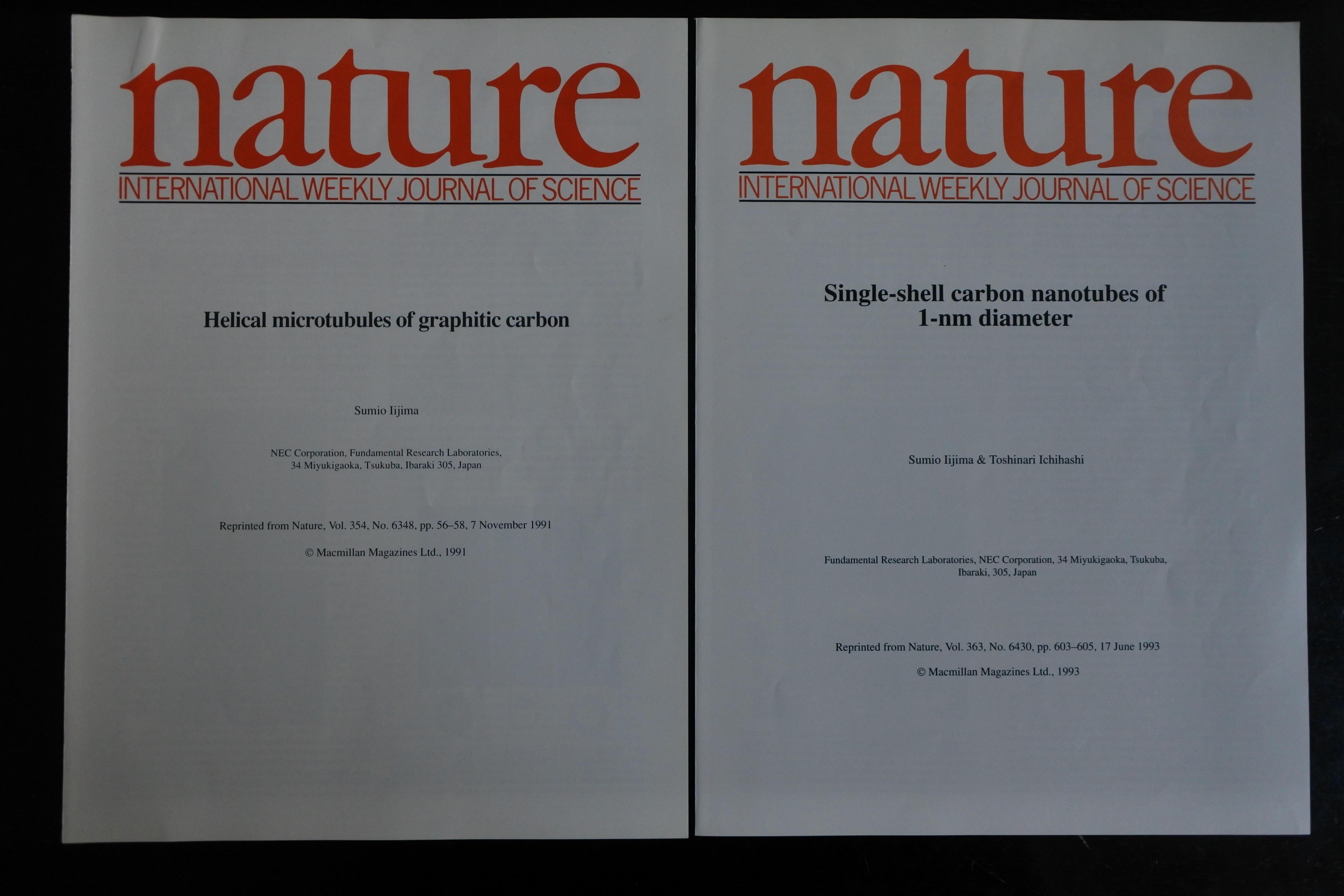 カーボンナノチューブ発見の論文が掲載された1991年の「nature」