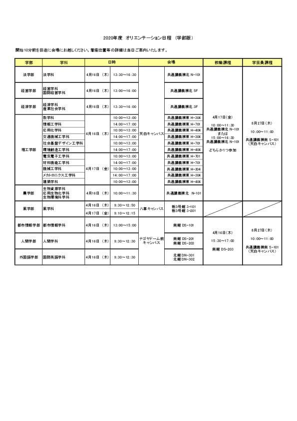オリエンテーション日程表(学部)