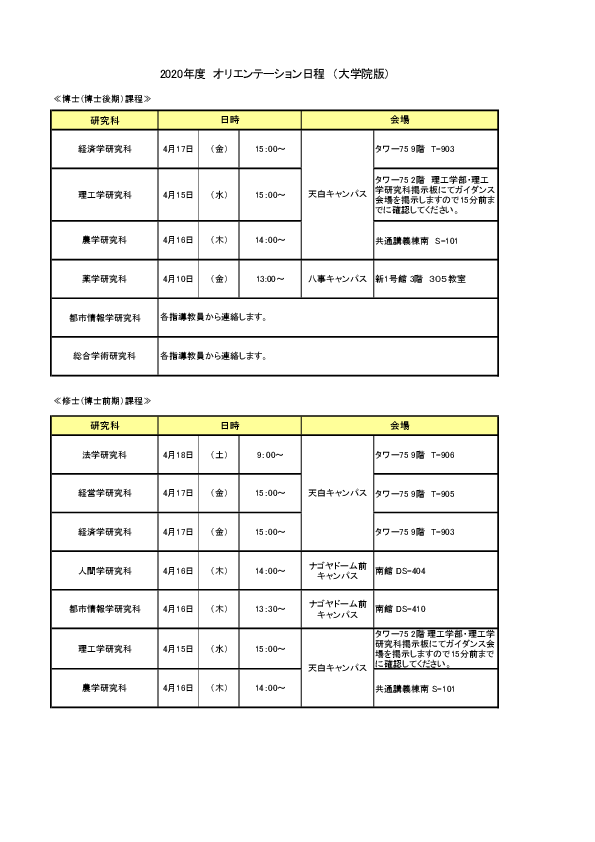 オリエンテーション日程表(大学院)
