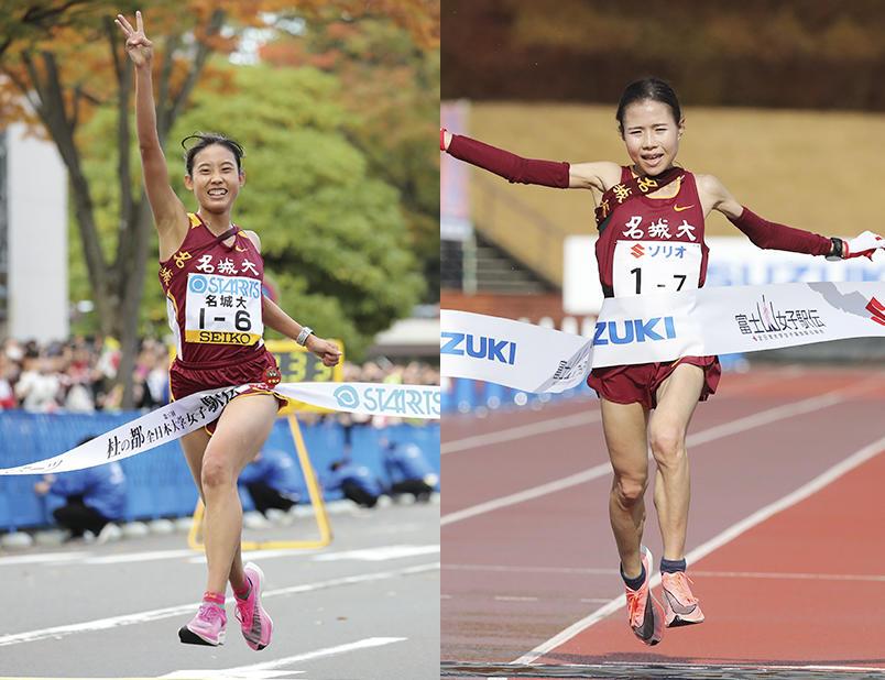 日本選手権10,000mに出場する荒井選手(左)、小林選手(右)
