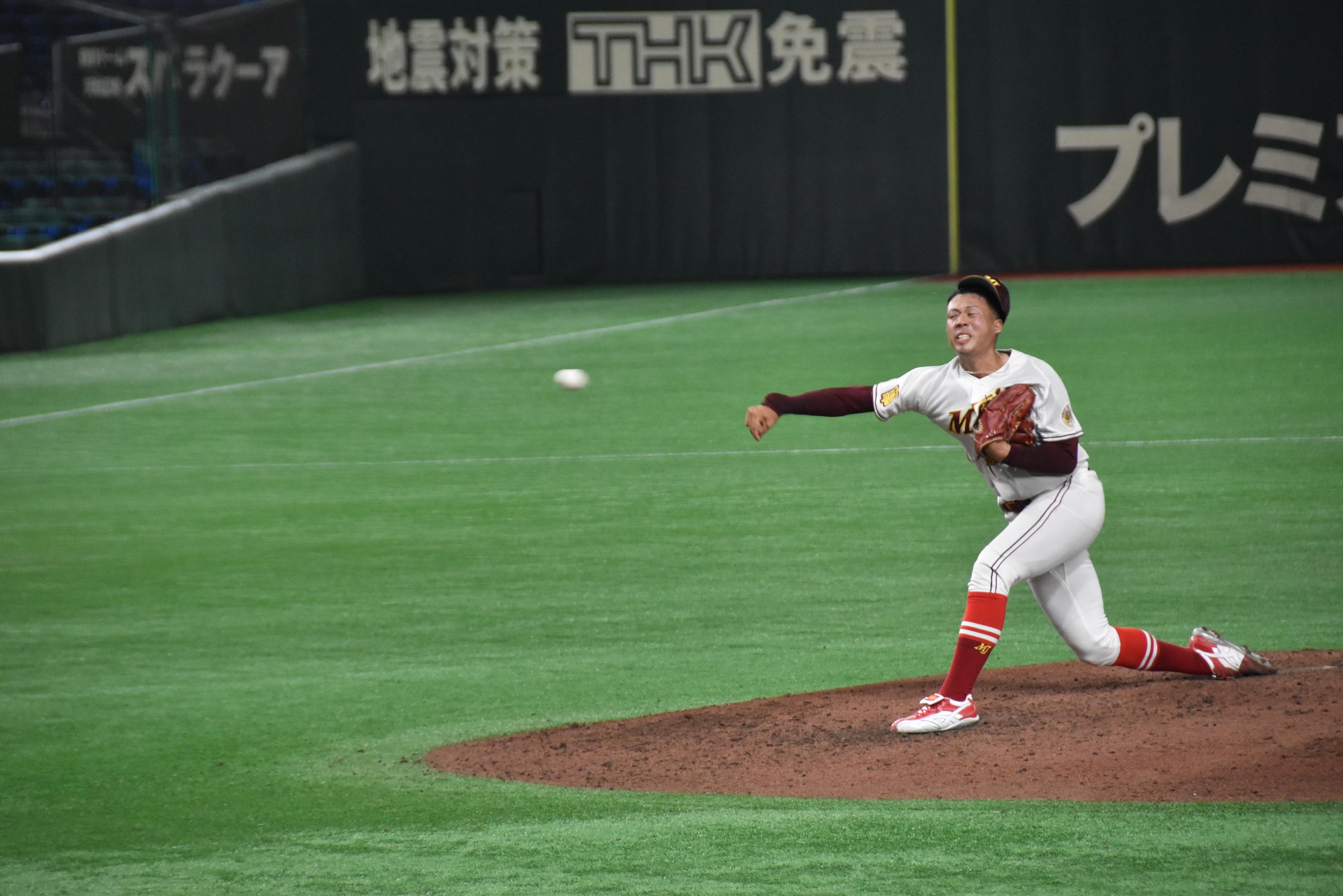 完封した松本投手の投球フォーム