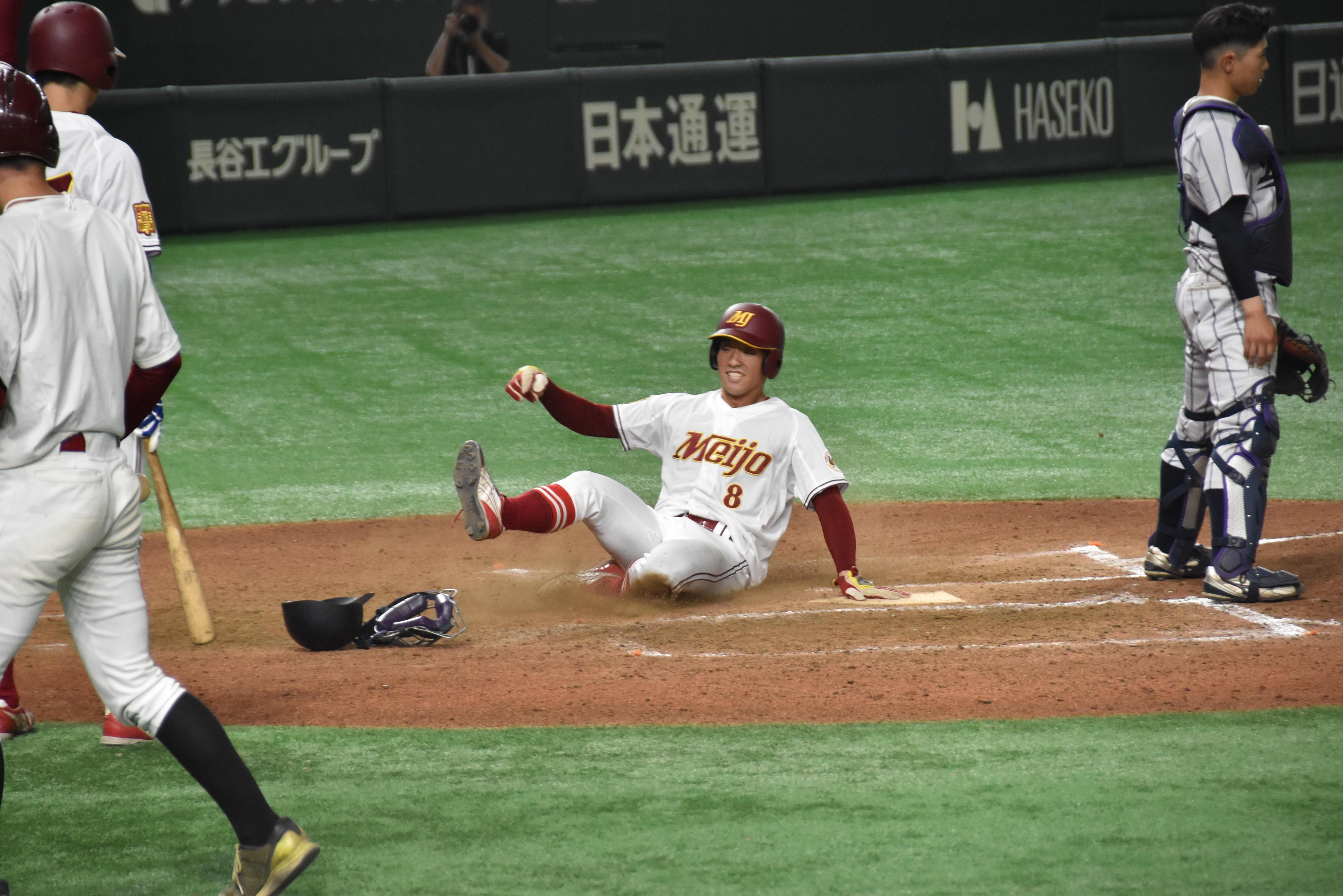 多和田尚旗選手(経営学部1年)に続いて河田隆博選手(法学部2年)も還り4点目
